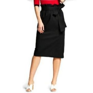 🍁 WHO WHAT WEAR Paper Bag Skirt Midi Tie Belted